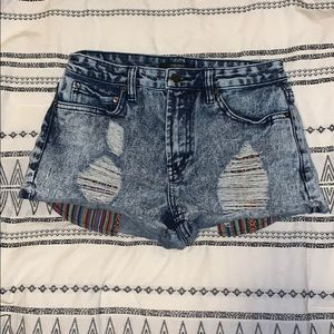 Forever 21 Acid Wash Distressed Boho High Waisted